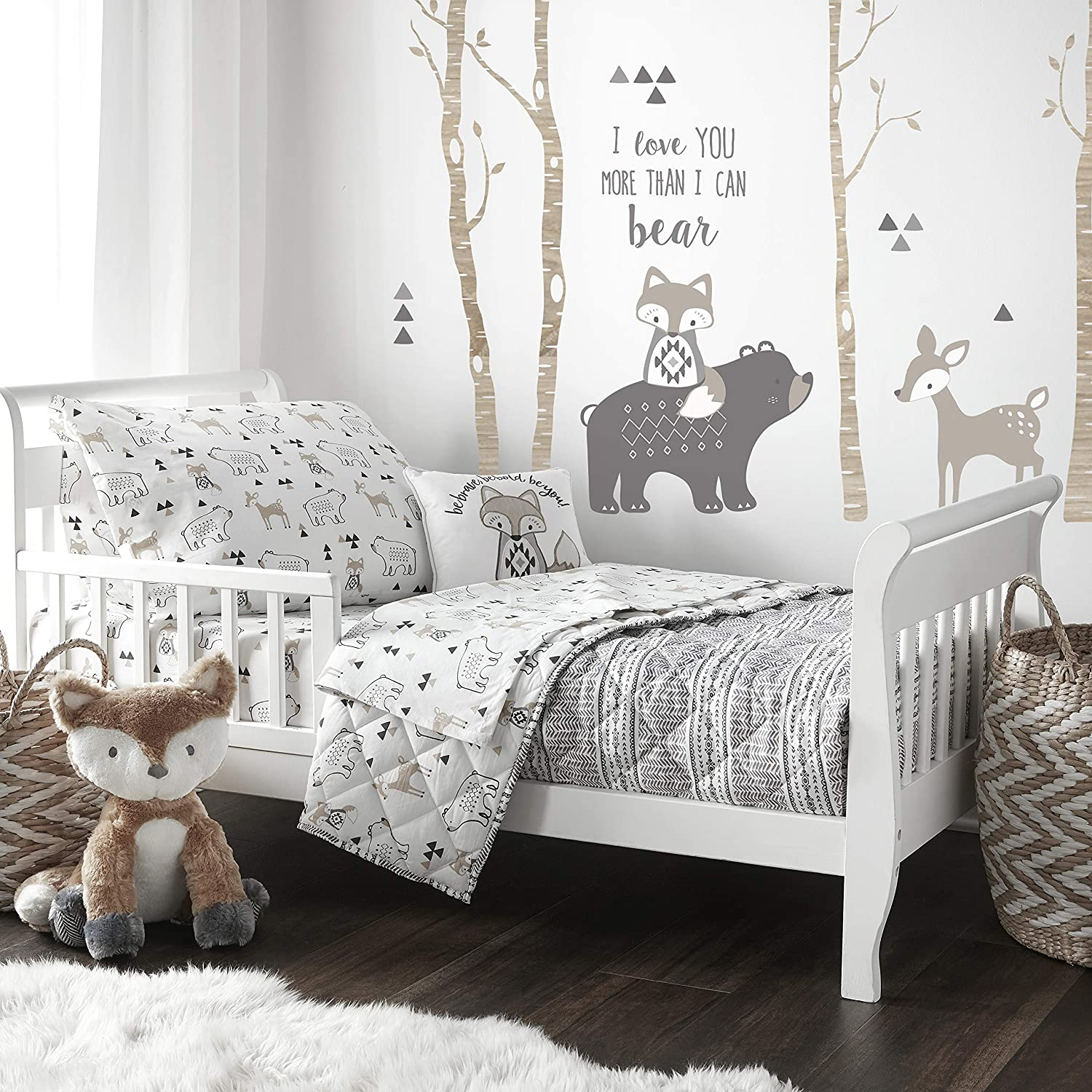 Levtex Baby - Bailey Toddler Bed Set - Charcoal Grey, White, Taupe - Woodland - 5 Piece Set Includes Reversible Quilt, Fitted Sheet, Flat Sheet, Pillow Case, Decorative Pilow