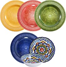 First Design Global Multicolor Decorative 12 Piece Melamine Dinnerware, Unique Dish Set for Parties or Everyday Use, Servi...