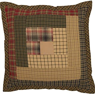 VHC Brands Rustic Thanksgiving Tea Cabin Patchwork Cotton Square Bedding Accessory, Pillow 12x12, Green