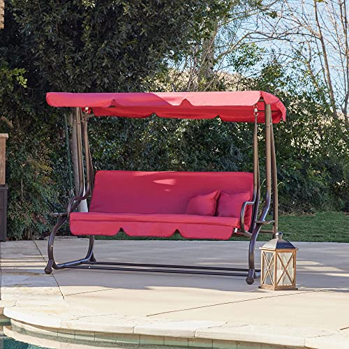 2021 BELLEZE 3 outlet sale Seat Porch lowest & Patio Swing/Bed with Pillow -Burgundy sale