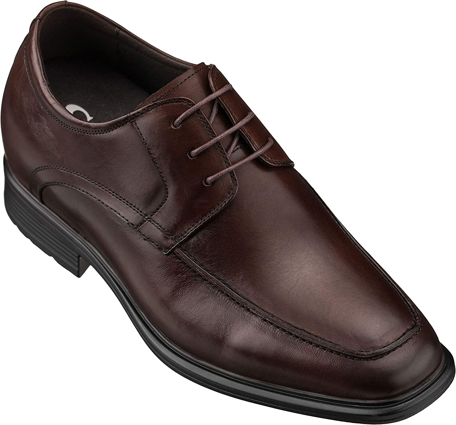 CALTO Men's Invisible Height Increasing Elevator Oxfords Shoes - Dark Brown Leather Lace-up Dress Derby - 3 Inches Taller - G60127