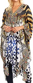 Jenni Women's Mid Length Boho Caftan Kaftan Dress Cover up Flowy Rhinestone