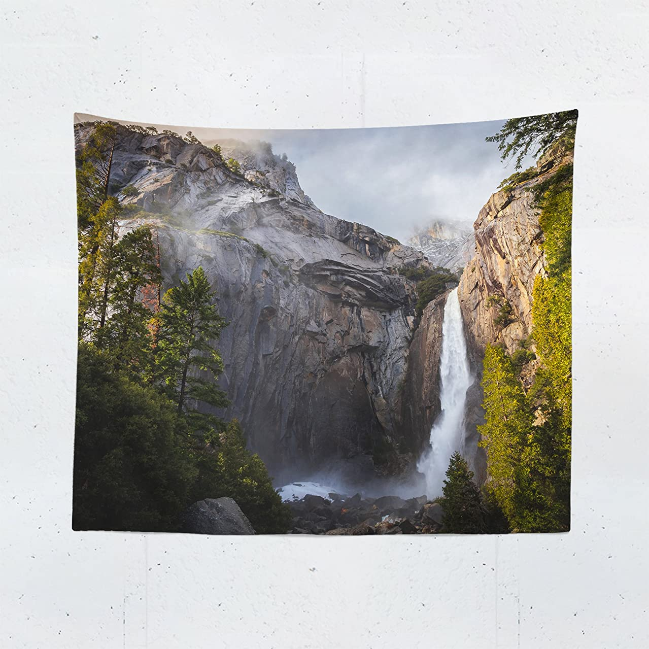Waterfall Tapestry Wall Hanging Yosemite National Park Scenic Landscape Beautiful Tapestries Decor College Dorm Living Room Art Gift Bedroom Dormitory Bedspread Small Medium Large - Printed in the USA