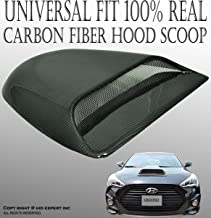 ICBEAMER Universal JDM Style Decorative Hood Scoop Black Air Flow Intake Vent Cover Auto Car Racing [Real Carbon Fiber]