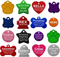 Providence Engraving Pet ID Tags - Small or Large Personalized Anodized Aluminum Pet ID Tags in Bone, Round, Star,...