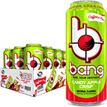 Bang Energy Caffeine Free Candy Apple Crisp Energy Drink, 0 Calories, Sugar Free with Super Creatine, 16oz, 12 Count