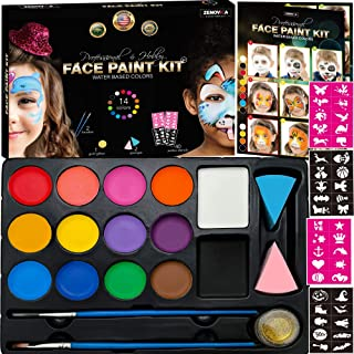 Best Face Paint Kit for Kids - 40 Face Paint Stencils, 14 Water Based Paints with 2 Large White and Black Colors - Halloween Professional Makeup Face Paint Palette Safe for Skin, Face Painting Book Review