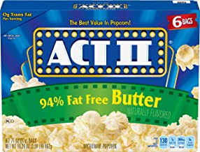 ACT II 94% Fat Free Butter Microwave Popcorn, 6-Count, 2.71-oz. Bags (Pack of 6)