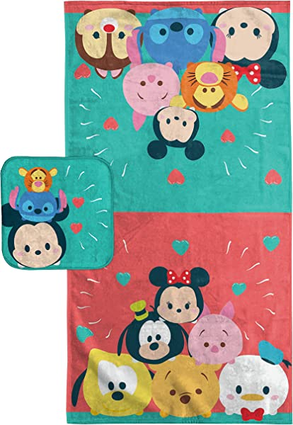 Disney Tsum Tsum Cotton Bath Towel Washcloth Set