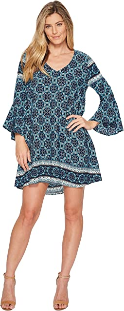 Roper 1561 Border Print Bell Sleeve Dress