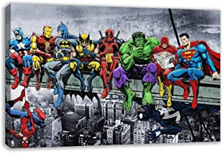 "MARVEL DC COMIC SUPERHEROES GIRDER LUNCH ATOP SKYSCRAPER BY DAN AVENELL CANVAS ART (30"" X 18"" / 75 X 45cm)"