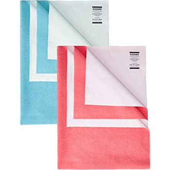Amazon Brand - Solimo Baby Water Resistant Dry Sheet Small 70cm x 50cm Aqua Blue and Dark Pink