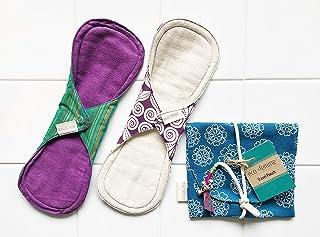 南インド「Eco Femme」布ナプキン (防水あり)多い日色違い2枚+ポーチ GOTS認定品