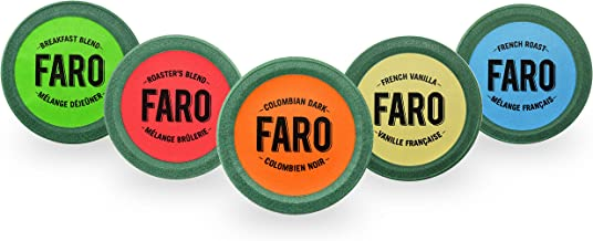 Faro Roasting House Single Serve Compostable Variety Pack Includes Roasters Blend, French Roast, Breakfast Blend, French Vanilla and Colombian Dark For Keurig K-cup Brewers, 2.0 Compatible (60 Count)