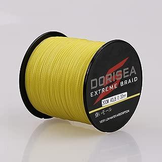 Dorisea Extreme Braid 100% Pe Yellow Braided Fishing Line 109Yards-2187Yards 6-550Lb Test Fishing Wire Fishing String Incredible Superline Zero Stretch
