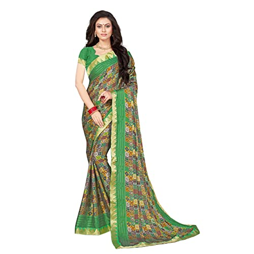 5f9ed04aab0 Vastrang Sarees Georgette Printed Saree With Blouse   Lace Border(A60003002 Free  Size)