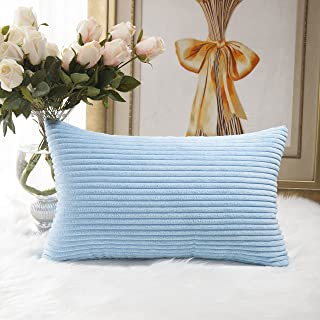 Home Brilliant Decorative Striped Corduroy Rectangle Cushion Cover Oblong Pillow Cover for Couch, 12 x 20 Inch, Baby Boy Blue