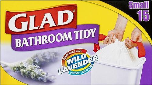 Glad Bathroom Tidy Drawstring Bags, 15 count