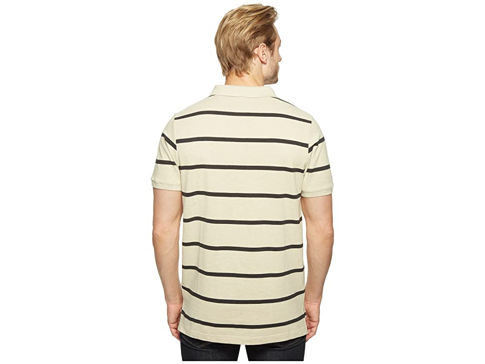 U.S. POLO ASSN. Thin Striped Pique Polo with Small Pony (Oatmeal Heather) Men's Short Sleeve Pullover, Beige