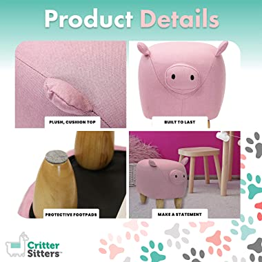 """CRITTER SITTERS 15"""" Seat Height Pink Pig Ottoman"""