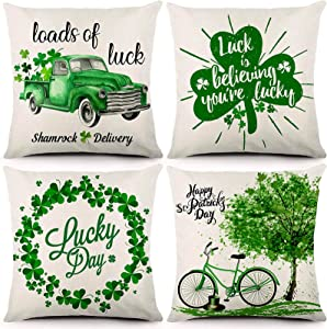 JOCACTI St. Patrick's Day Pillow Covers 18x18 Inches St. Patrick's Day Decorations Farmhouse Throw Pillow Covers Green Shamrock Clover Cotton Linen Cushion Pillowcase for Home Decor