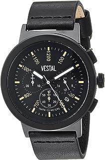 Vestal Stainless Steel Quartz Watch with Leather Strap, Black, 22 (Model: SLR44CL03.BK)