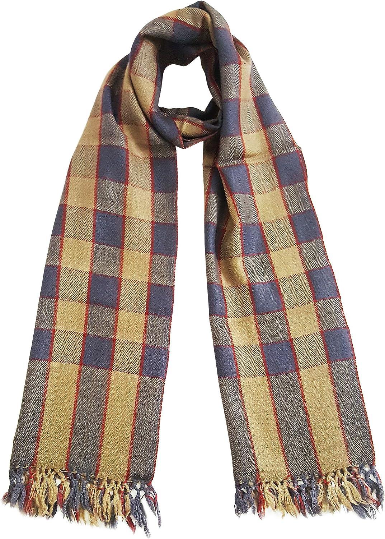Mehrunnisa Handcrafted Premium Pure Wool Check Design Muffler/Scarf – Unisex