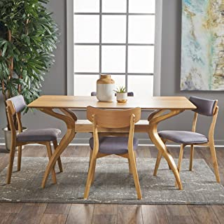 Christopher Knight Home Nerron Mid Century Finished 5 Piece Wood Dining Set Fabric Chairs, Natural Oak + Dark Grey