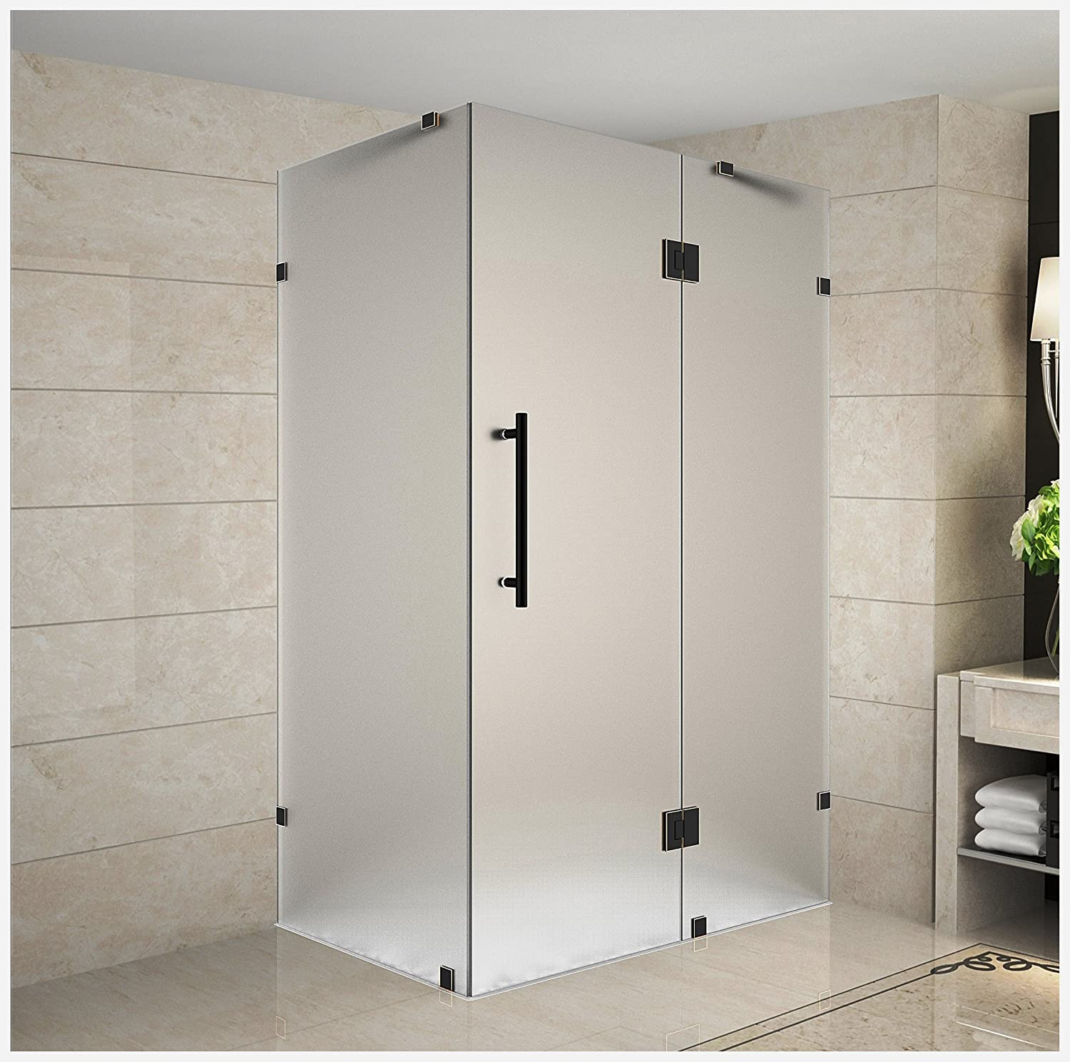 Aston Avalux 36 X 38 X 72 Completely Frameless Hinged Shower Enclosure In Frosted Glass Stainless Steel Amazon Com