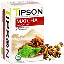 Tipson Organic Matcha Green Tea - Chai Mix - 25 Foil Enveloped Double Chambered Bags - Antioxidant - Keto/Paleo