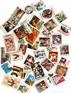 40 Vintage Christmas Card Postage Stamps - Total 40 Stamps - Many Different Denominations