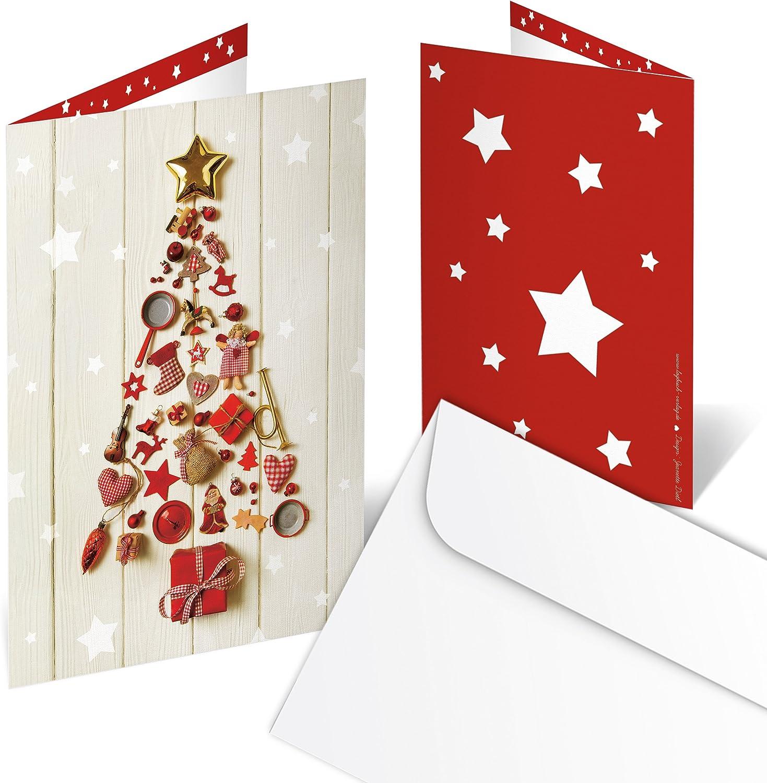 Logbuch-Verlag 3 Grußkarten Weihnachten zum Selberschreiben -  Weihnachtskarte leer ohne Text rot gold beige A3 - für Kunden  Geschäftspartner