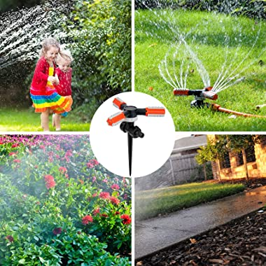 Lawn Sprinkler, 360 Degree Rotating Garden Hose Sprinkler with Ground Spike Water Sprinkler for Lawn Garden Yawn (1)