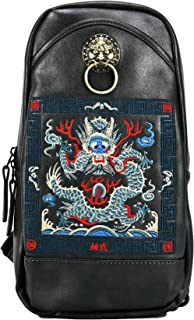 Chinese Embroidery PU Leather Sling Bag Black Outdoor Daypack Crossbody