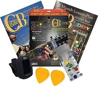 سیستم یادگیری گیتار ChordBuddy ، تیونر Chromatic (سیاه) و گیتار تخت Fried Kelly Delrin (2 قطعه) - بسته لوازم جانبی گیتار برای مبتدیان - NO DVD ، DOWNLOAD FROM APP STORES