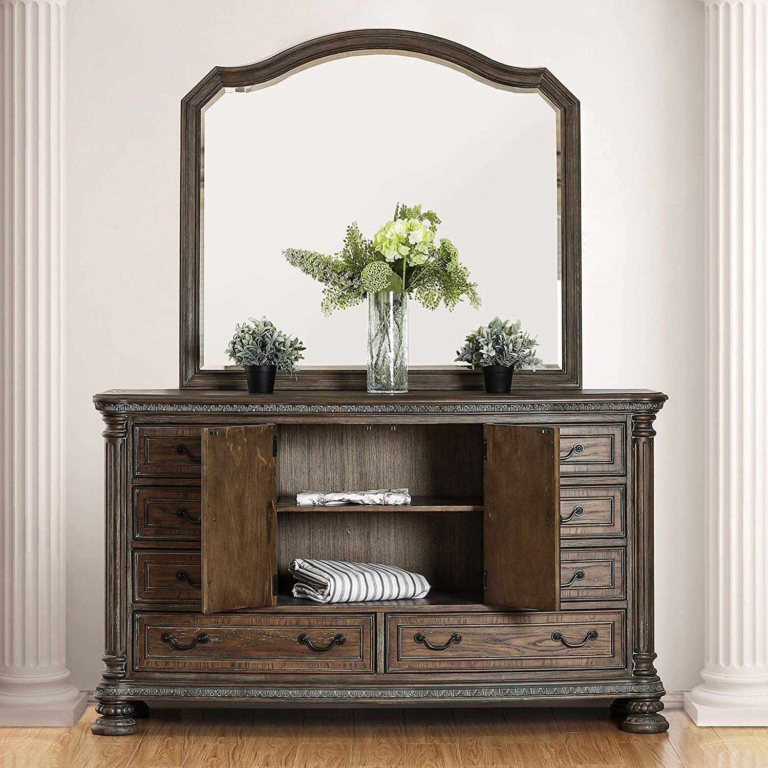 2-Piece Dresser and Mirror Set ShabChic Super Special SALE held Brown Transitional Max 44% OFF Glass