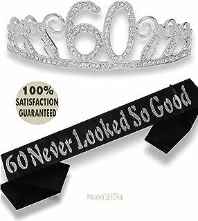 60th Birthday Tiara and Sash, Happy 60th Birthday Party Supplies, 60 Never Looked So Good Black Glitter Satin Sash and Crystal Tiara Birthday Crown for 60th Birthday Party Supplies (Silver)