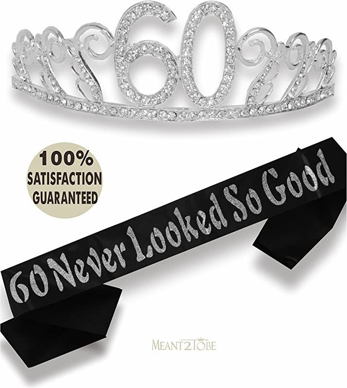 60th Birthday Tiara And Sash Happy 60th Birthday Party Supplies 60 Never Looked So Good Black Glitter Satin Sash And Crystal Tiara Birthday Crown For 60th Birthday Party Supplies And Decorations