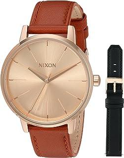 Nixon Women's Kensington Leather Pack Stainless Steel japanese-quartz Watch calfskin Strap, rose gold, 16 (Model: A11902780)