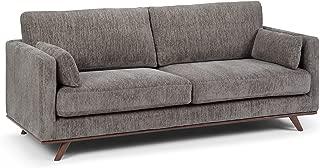 Simpli Home AXCFLT-03-GRT Calvin Mid Century Modern 82 inch Wide Sofa in Granite Chenille Look Fabric