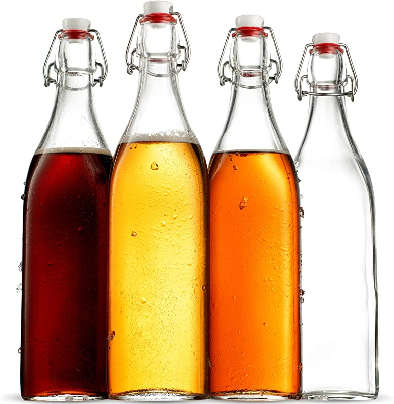 Swing Top Clear Glass SQUARE Bottle With Airtight Stopper 33 75 Oz 4 Pack Fliptop Grolsch Bottles Great For Oil And Vinegar Beverages Kombucha Homemade Juices Smoothies Homebrewing Beer
