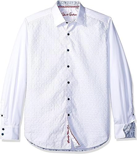 Robert Graham Hommes's Dominic manche longue Shirt, blanc, 2Xgrand