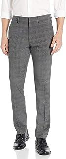 Kenneth Cole Reaction Men's Stretch Heather Glen Plaid Slim Fit Flat Front Dress Pant Dress Pants