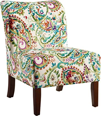 Linon Karen Curved Back Slipper Chair, Dark Walnut