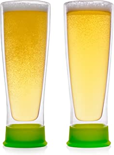 Eparé Insulated Beer Drinking Glasses(13 oz, 390 ml) –Double WallTumbler Glass Mug – Cup for Pilsner, Craft IPA, Juice, or Water – 2 Glasses