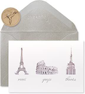 Papyrus Thank You Cards with Envelopes, World Icons (14-Count)
