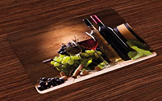 Ambesonne Wine Place Mats Set of 4, Glasses of Red and White Wine Served with Grapes French Gourmet Tasting, Washable Fabric Placemats for Dining Room Kitchen Table Decor, Brown Ruby