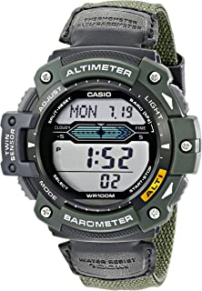 Men's SGW300HB-3AVCF Multi-Function Sport Watch with Green Nylon Band