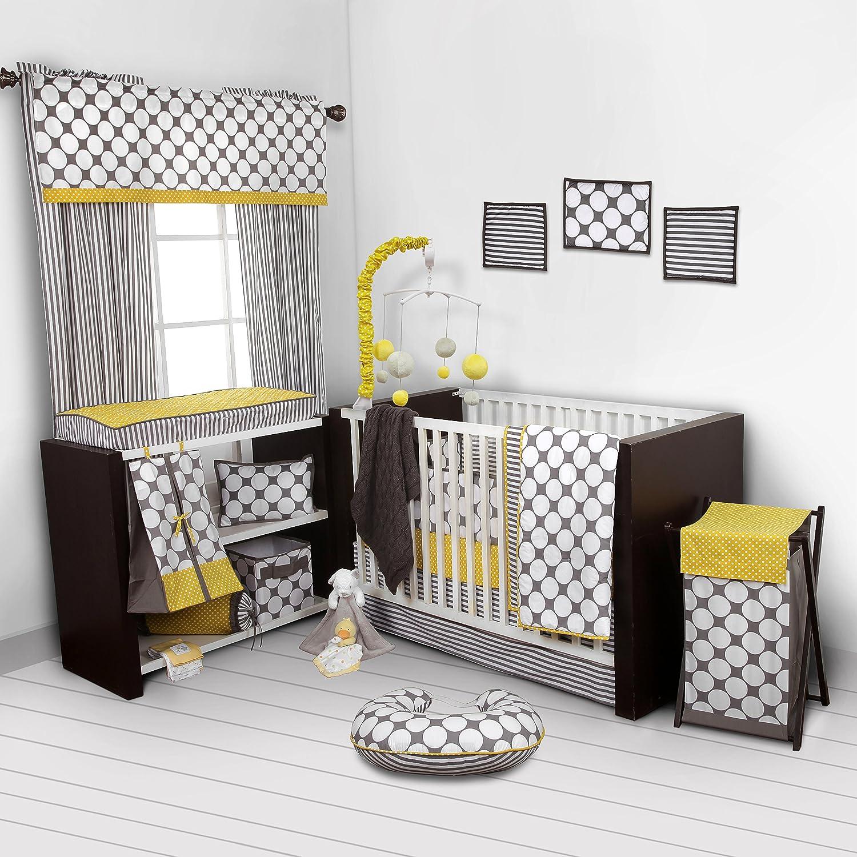 Bacati - Dots pin Stripes Grey Yellow 10 Pc Crib Set Including Bumper Pad