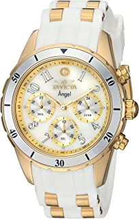 Invicta Women's Angel Stainless Steel Quartz Watch with Silicone Strap, White, 20 (Model: 24901)